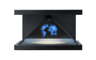 hologramm technologie Erdkugel blau strahlend front