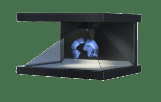 hologramm technologie Erdkugel in blau strahlend