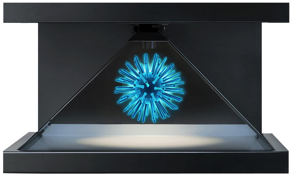 hologramm technologie Bakterie blau strahlend
