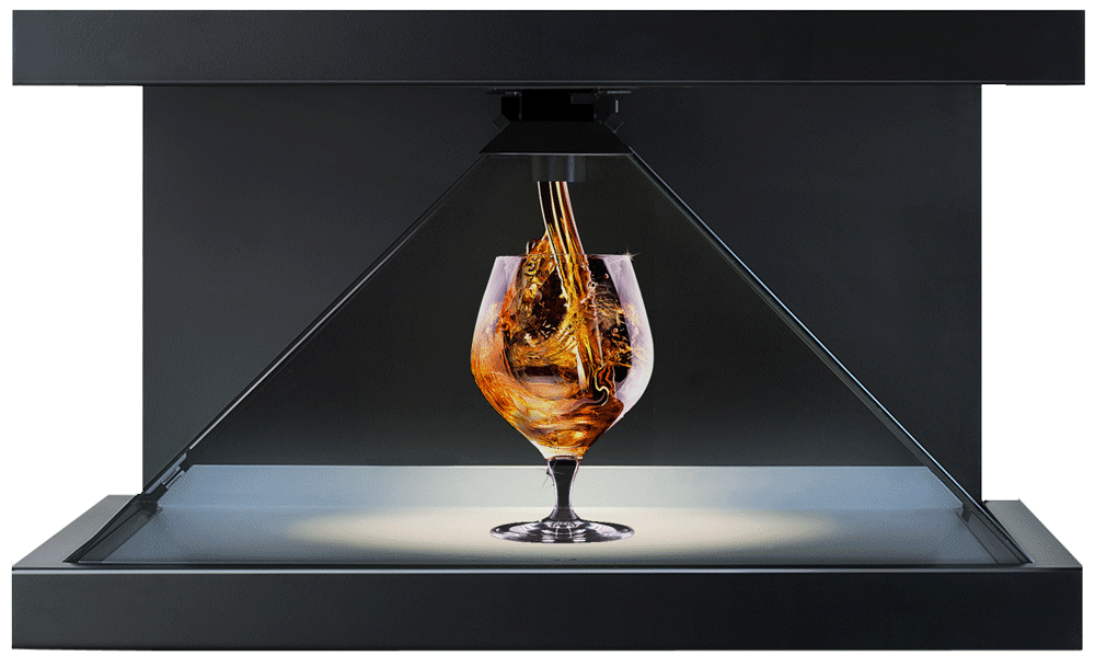 Holographisches Display mit Cognac der in Glas fliesst