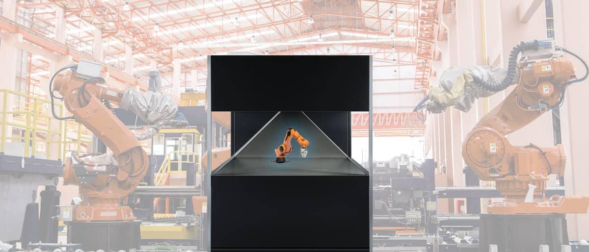 Hologramm eines Industrie Roboters