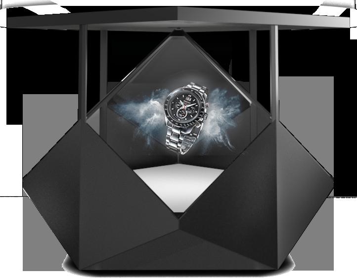 Hologramm Display Dreamoc Diamond mit Armbanduhr